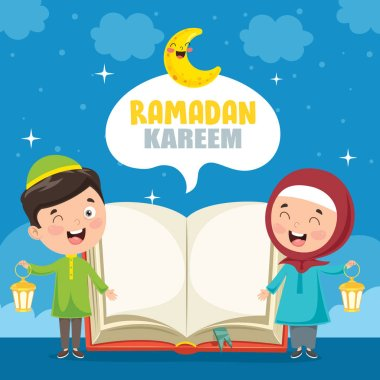 Vector Illustration Of Muslim Kids Celebrating Ramadan clip art vector