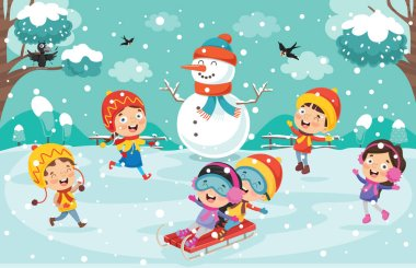 Children Playing Outside In Winter stock vector