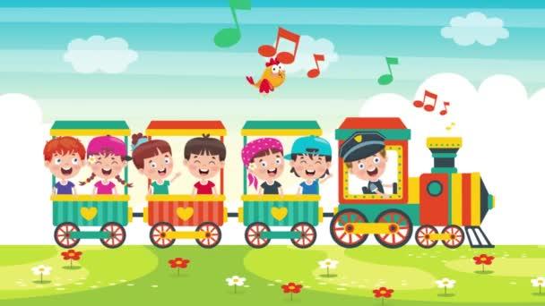 Animation von glücklichen Kindern, die im Zug reisen