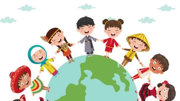 Kreis der glücklichen Kinder verschiedene Rassen