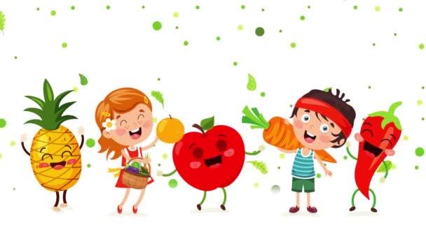 Konzept der gesunden Ernährung mit lustigen Charakteren