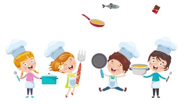Happy Cute Little Chefs Are Cooking