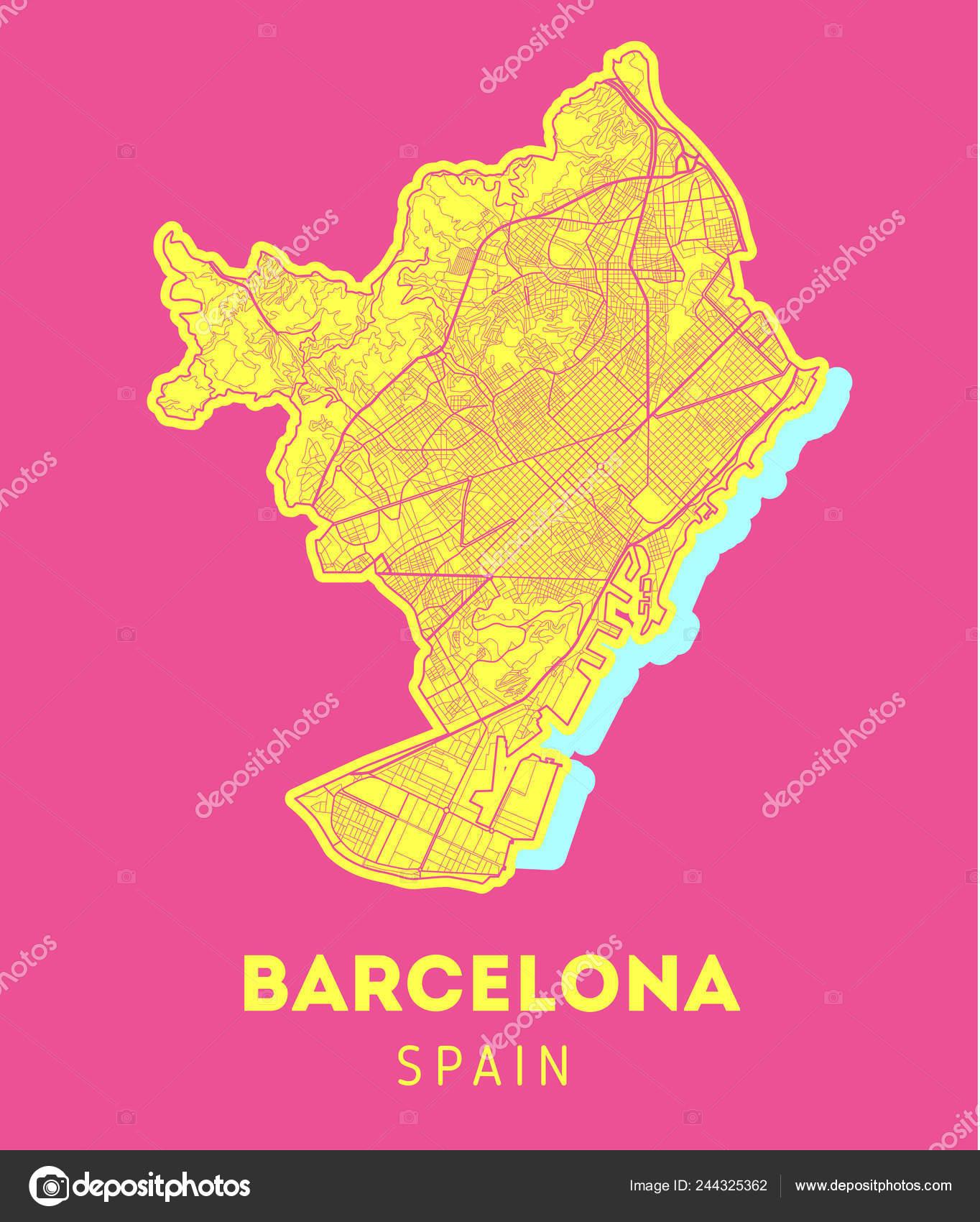 Vector City Map Of Barcelona Stock Vector C Bigunksu 244325362
