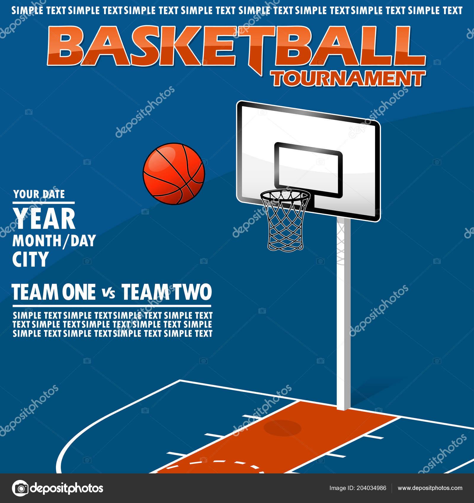 Variante Poster Para Torneio Basquete Todos Elementos Estão Localizados  Diferentes — Vetor de Stock ca10bff88751d