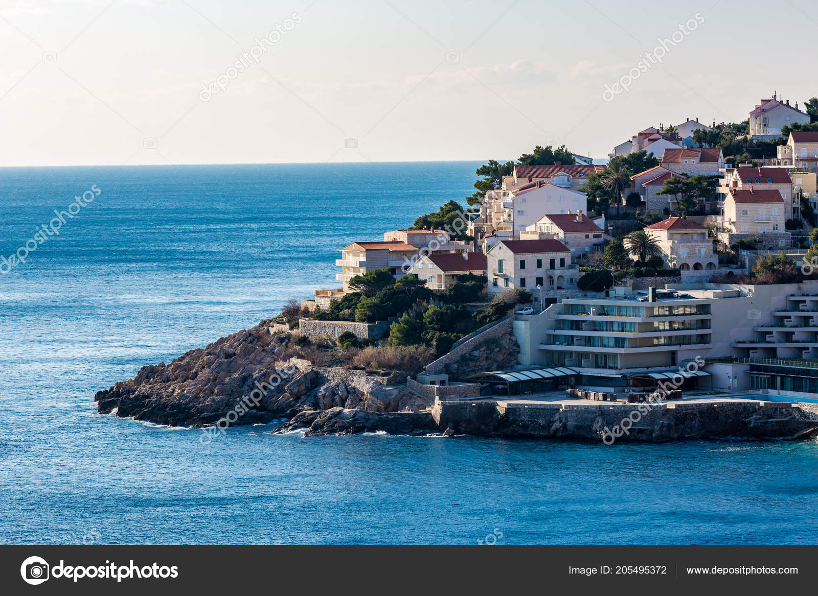 View Shore Part New City Dubrovnik Croatia Winter Cold Waters