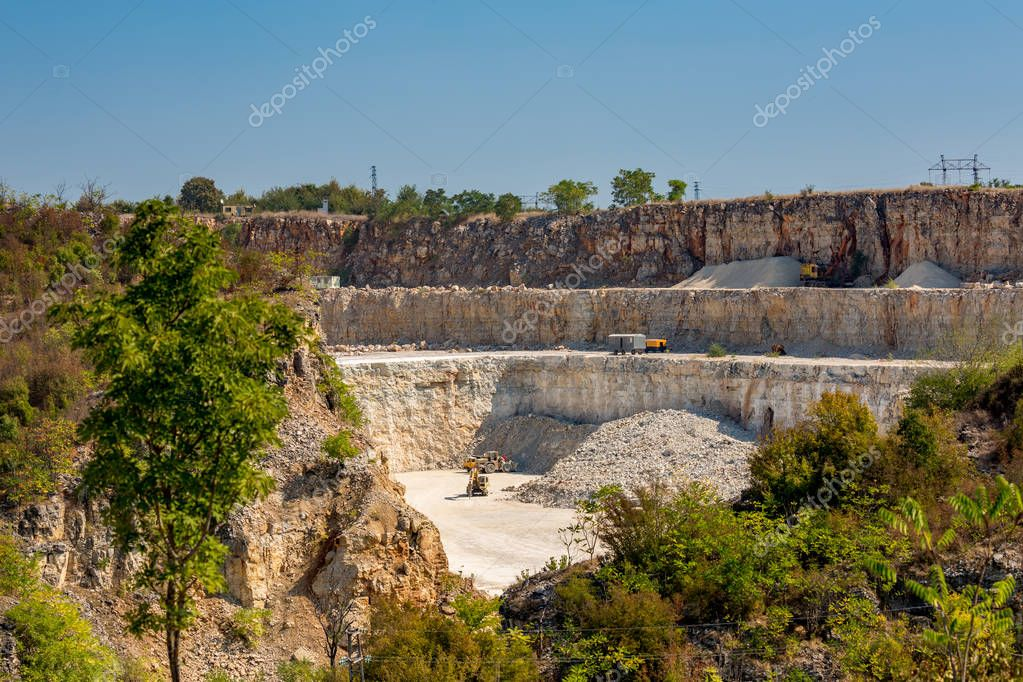Quarry, Bulgaria, three stories, sunny autumn day