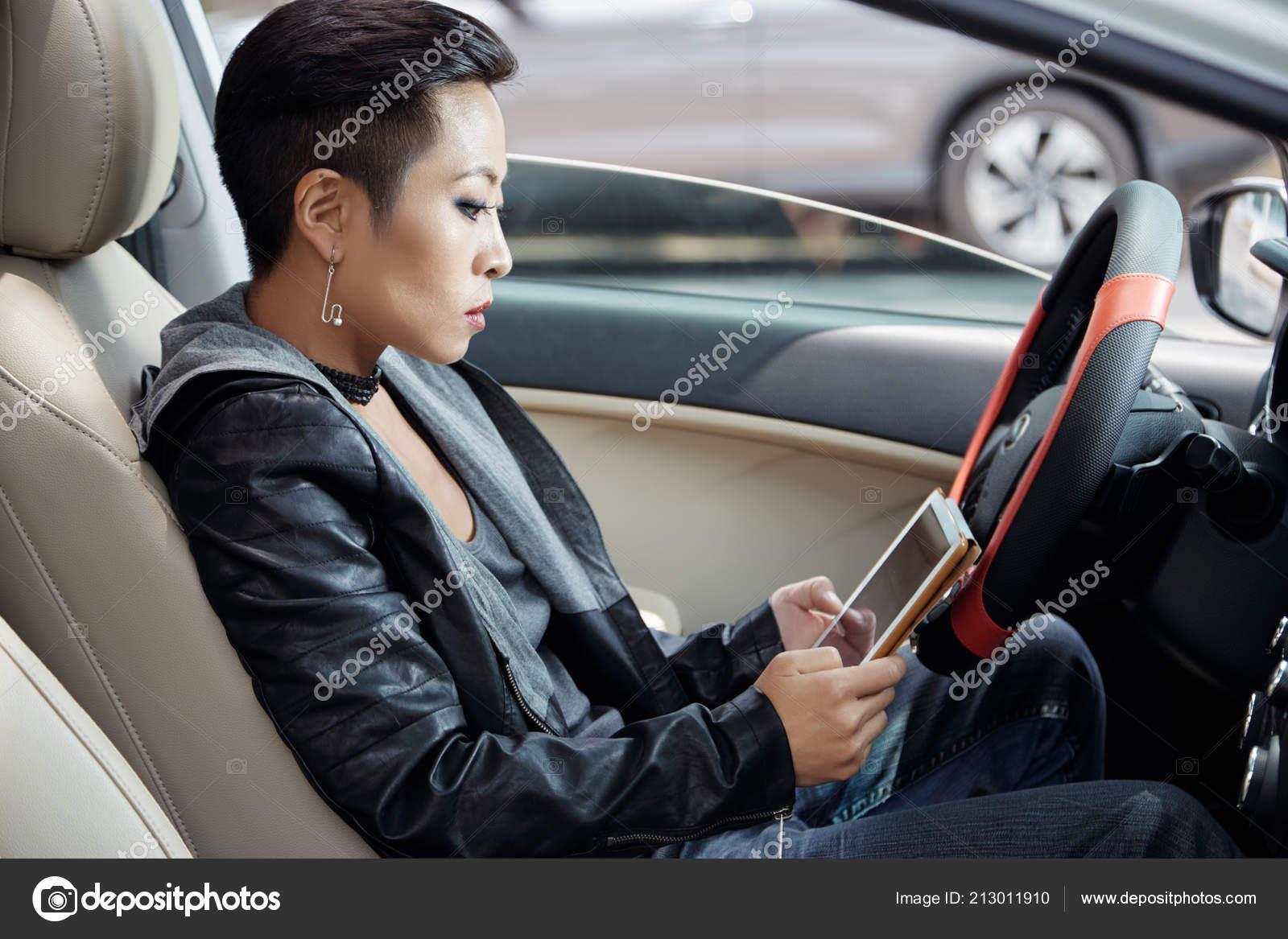 Asian Woman Setting Navigation App Tablet Driving Car
