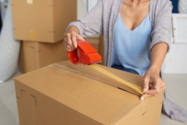 Woman using adhesive tape while packing cardboard box stock vector