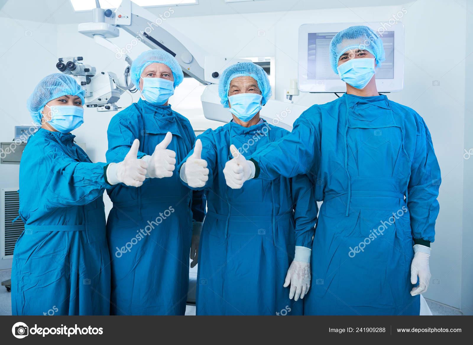 Team Asian Camera Uniform Looking Thumb Surgical Masks Showing