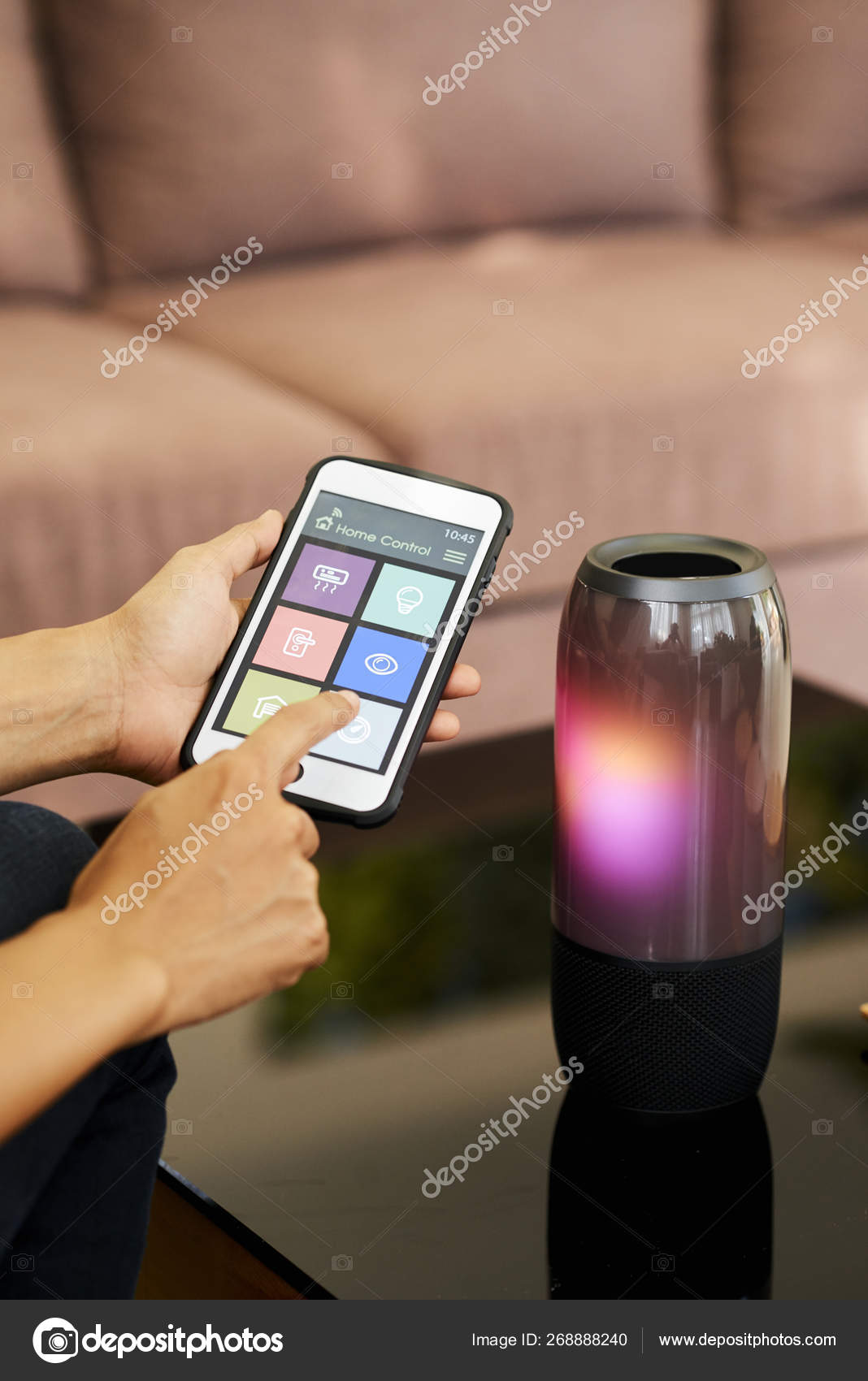 Close Woman Using Bluetooth Her Smartphone Connect Wireless Speaker