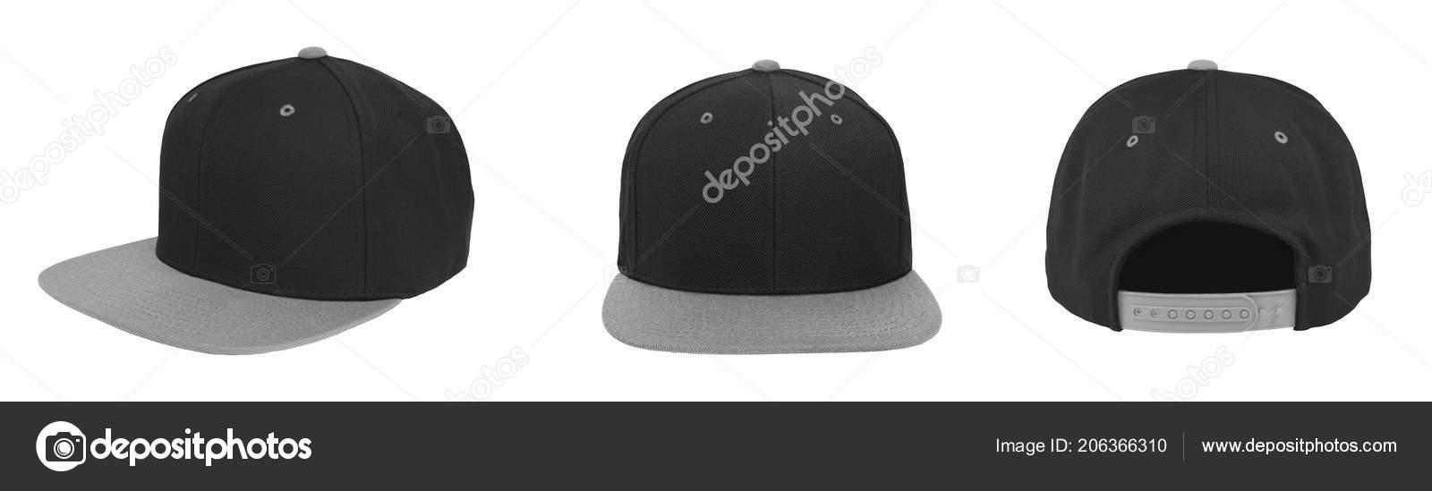 Béisbol Blanco Snapback Gorra Dos Tonos Color Negro Gris Sobre — Foto ... 79ab4a570ba