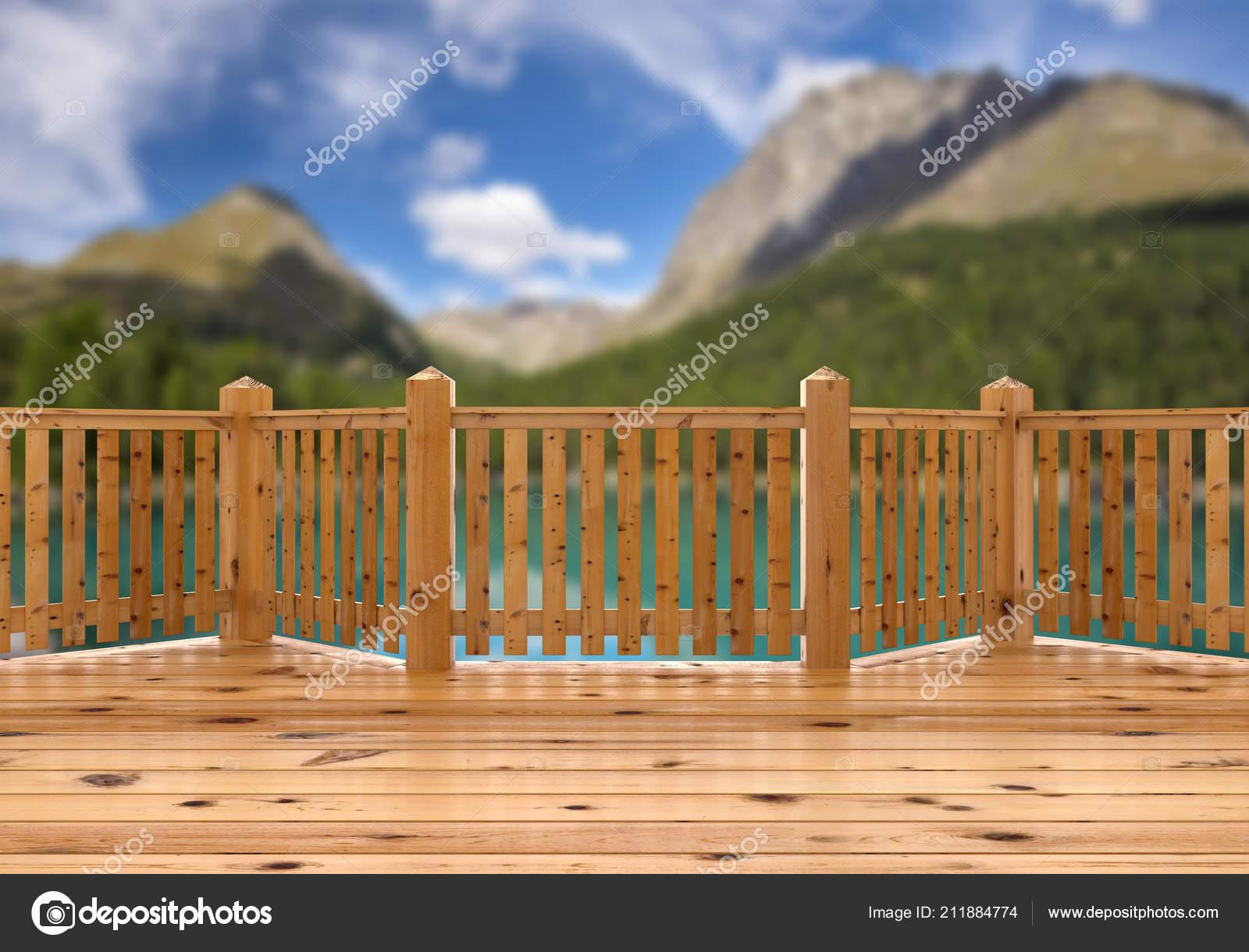 Render Vista Desde Terraza Madera Spruce Porche Balcón Sobre