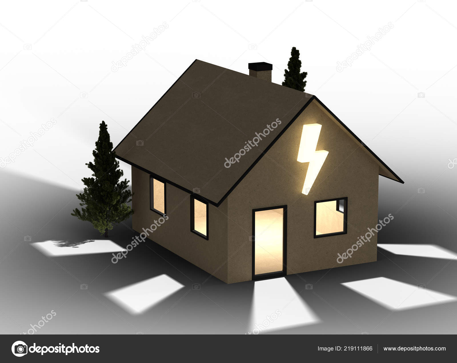 Render Qlowing Cardboard House Flash Symbol Isolated White