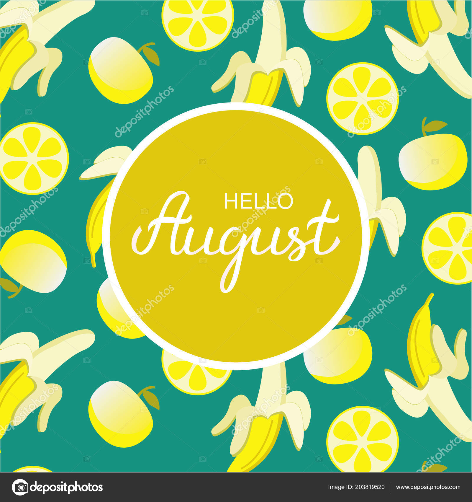 Hand Drawn Hello August Typography Lettering Poster, Bright Design  Background. Summer Time Month Title Vector Illustration With Summer Day  Elements.