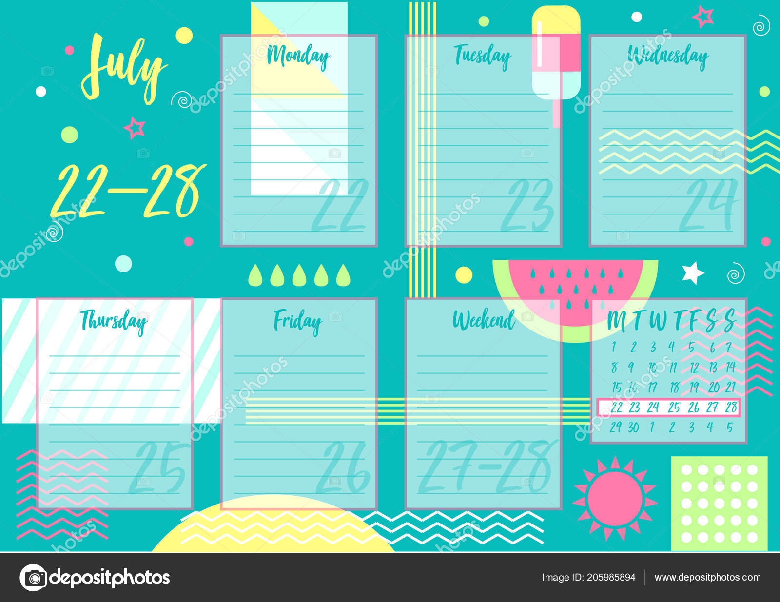 Vector Illustration July 2019 Weekly Planner Abstract Summer