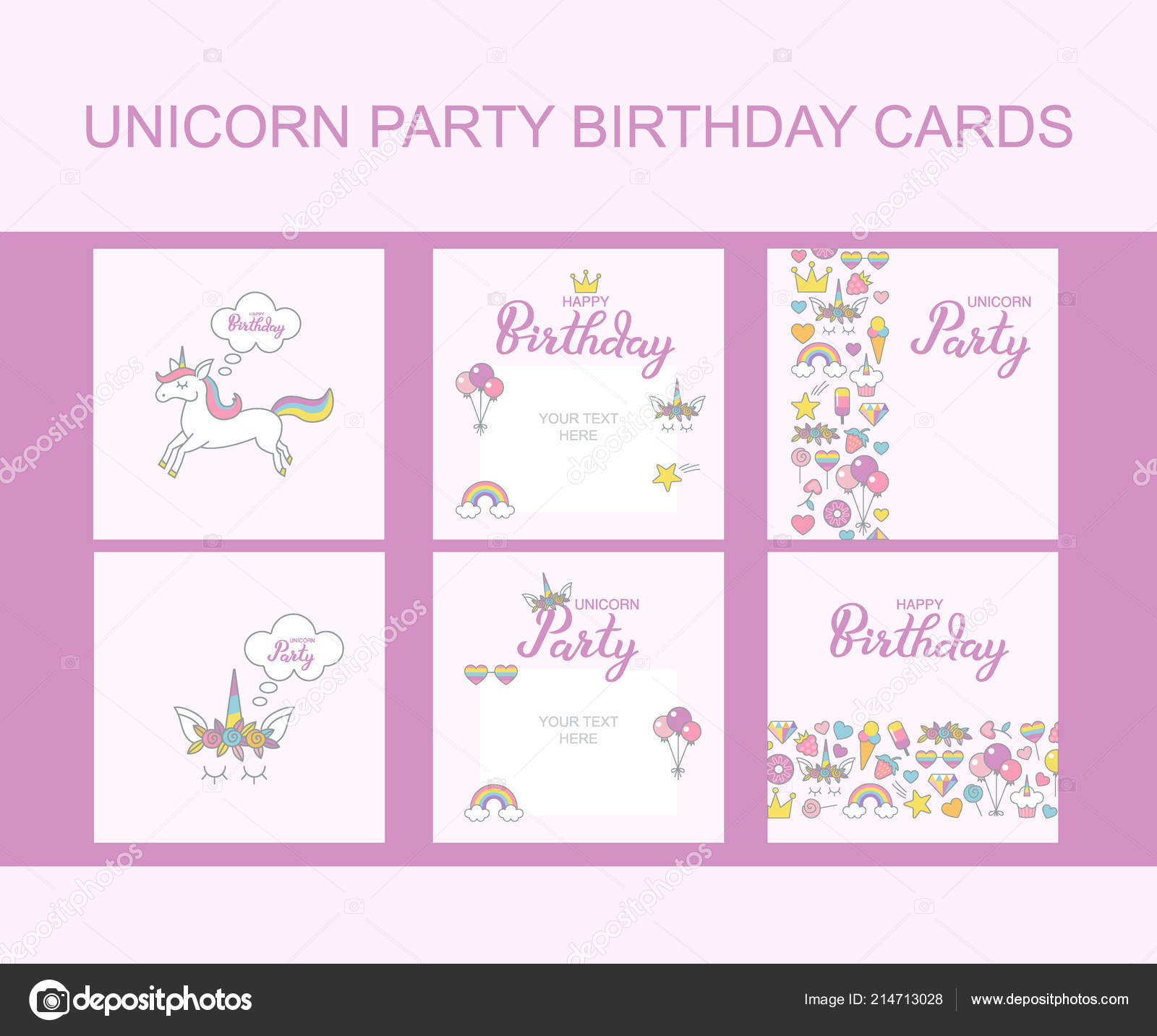 Unicornio Party Birthday Tarjetas De Felicitación