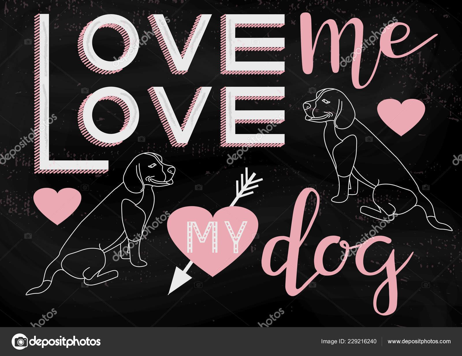 Ilustración Dibujado Mano Con Amor Tipografía Perro Letras