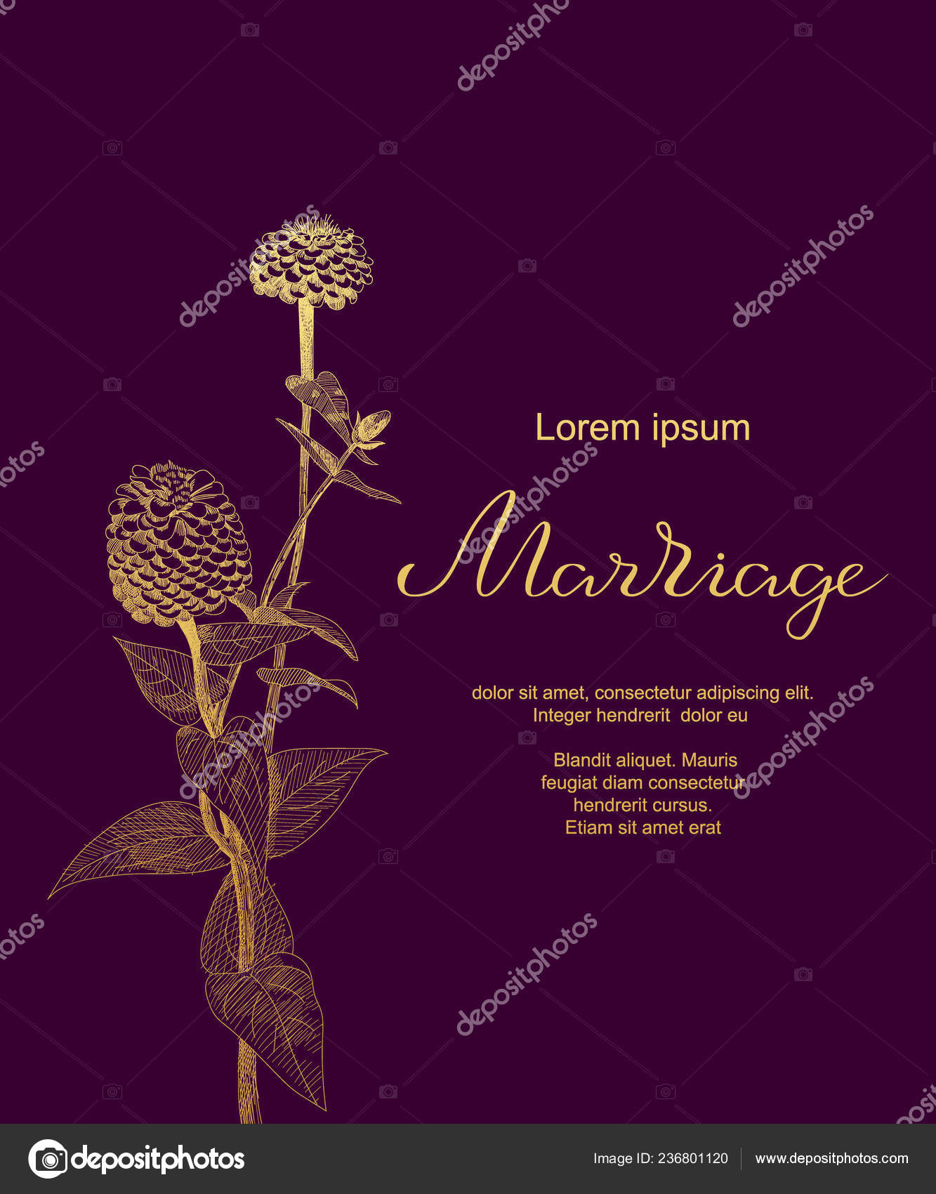 Luxury Wedding Card With Zinnia Sketch Flowers Leaves
