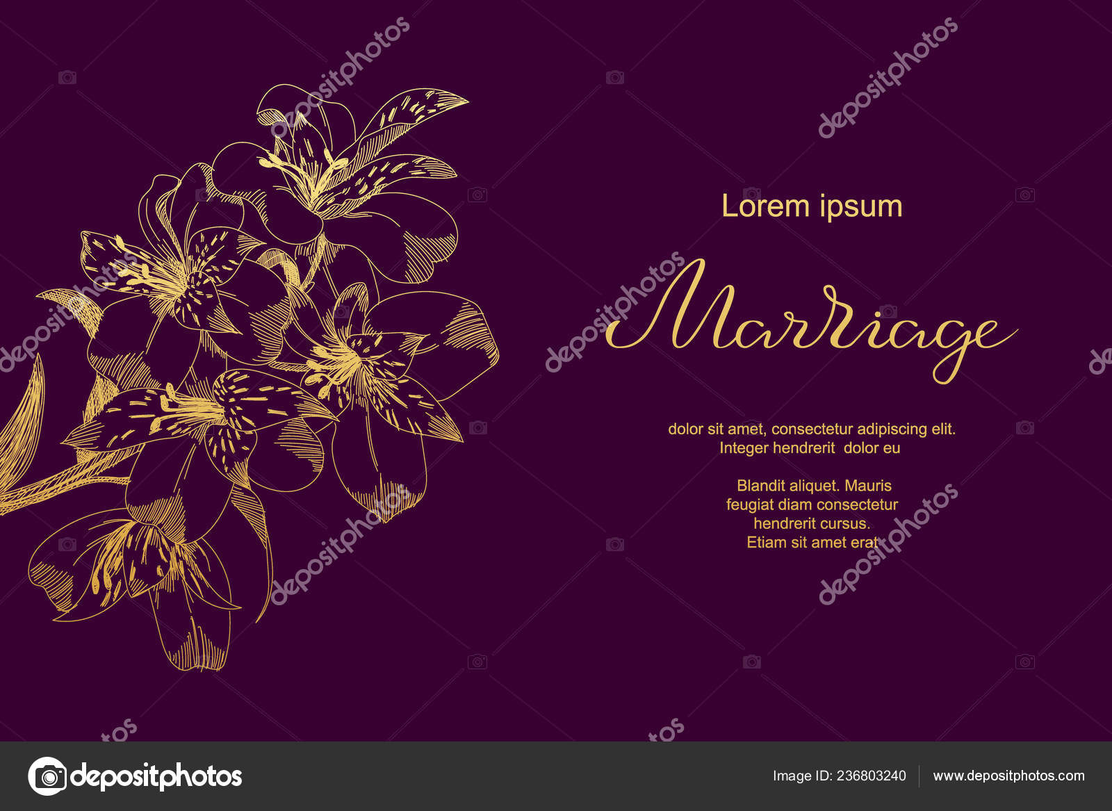 Luxury Wedding Card With Lily Sketch Flowers Leaves Marriage