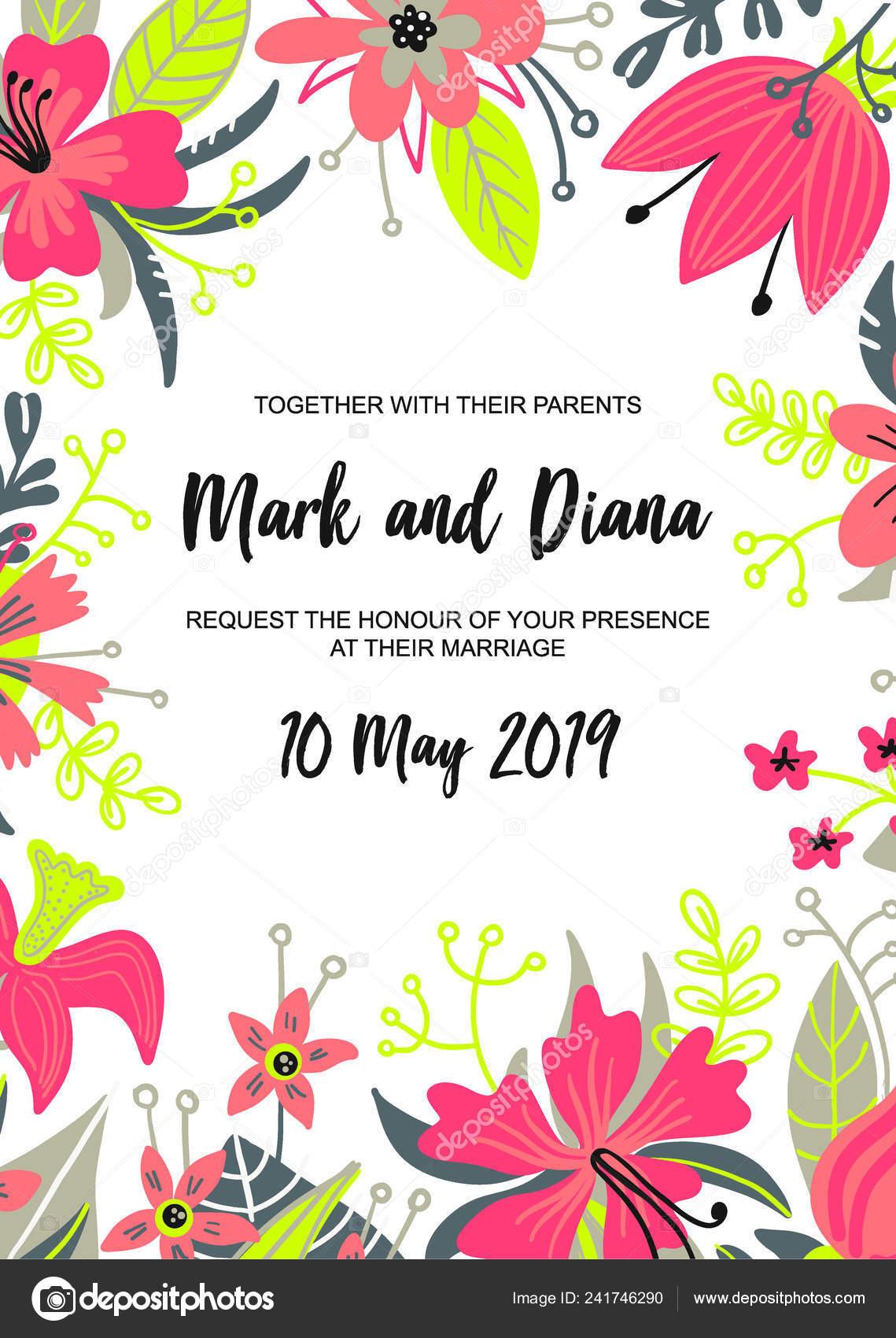Modern Style Wedding Invitation Card Flower Frame Background