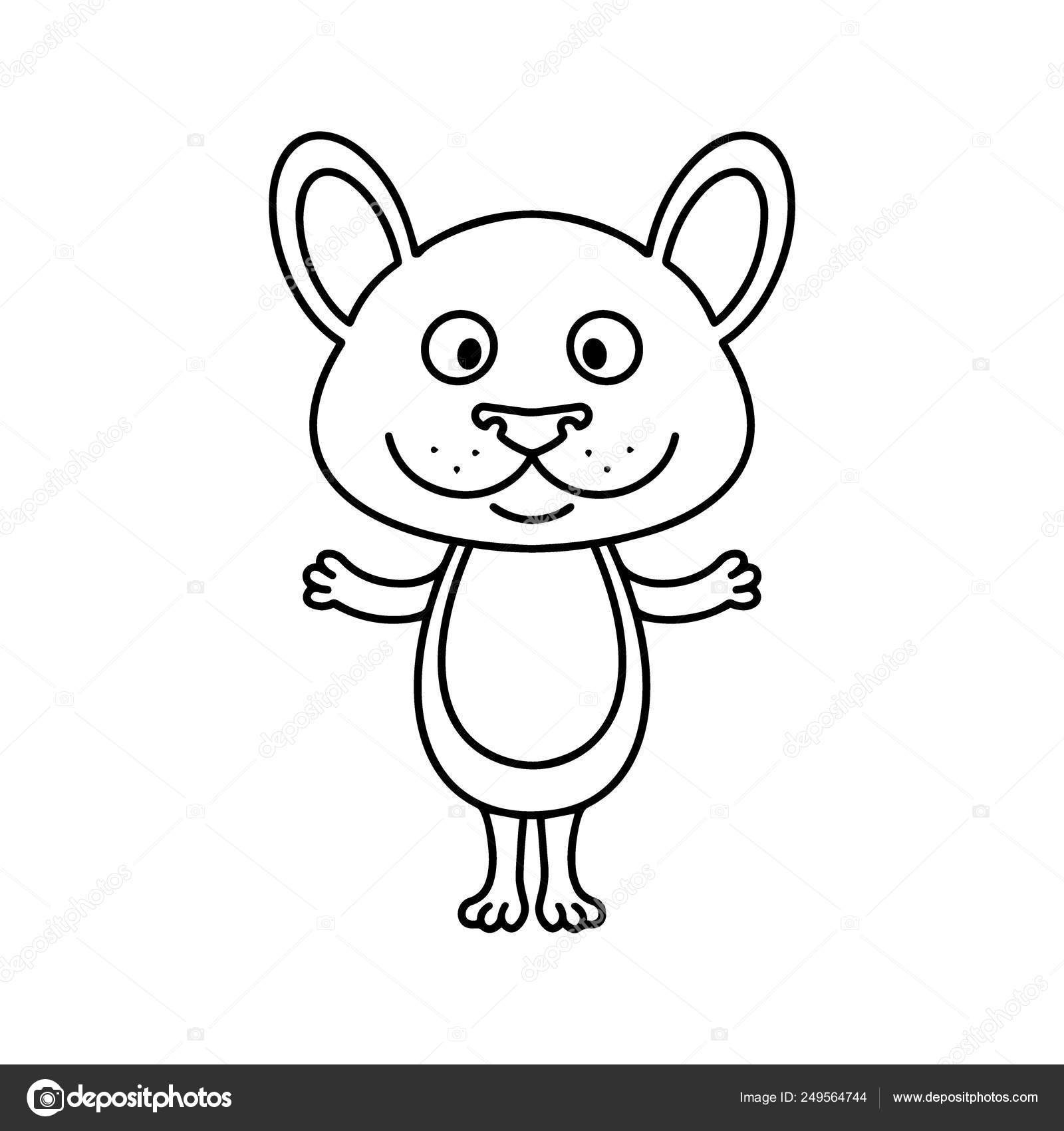 Cute Mouse Cartoon Linear Art Animal Sketch Vector Illustration