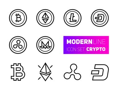 Outline icons set of cryptocurrency theme. Vector collection, modern stroke pictogram of mining gigs and blockchain structures - bitcoin, ethereum, litecoin, dash, ripple, monero. Concept bold outline symbols.