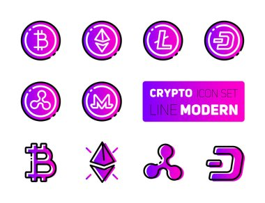 Outline icons set of cryptocurrency theme. Vector collection, modern pictogram with rounded stroks. Mining gigs and blockchain structures - bitcoin, ethereum, litecoin, dash, ripple, monero. Concept bold outline symbols on ultraviolet backgrounds.