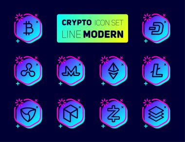 Outline icons set of cryptocurrency theme. Vector collection, modern pictogram with rounded stroks in dark color. Mining gigs and blockchain structures - bitcoin, ethereum, litecoin, dash, ripple, monero, mem, neo, zcash, stratis.