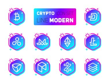 Outline icons set of cryptocurrency theme. Vector collection, modern pictogram with rounded stroks in blue color. Mining gigs and blockchain structures - bitcoin, ethereum, litecoin, dash, ripple, monero, mem, neo, zcash, stratis.