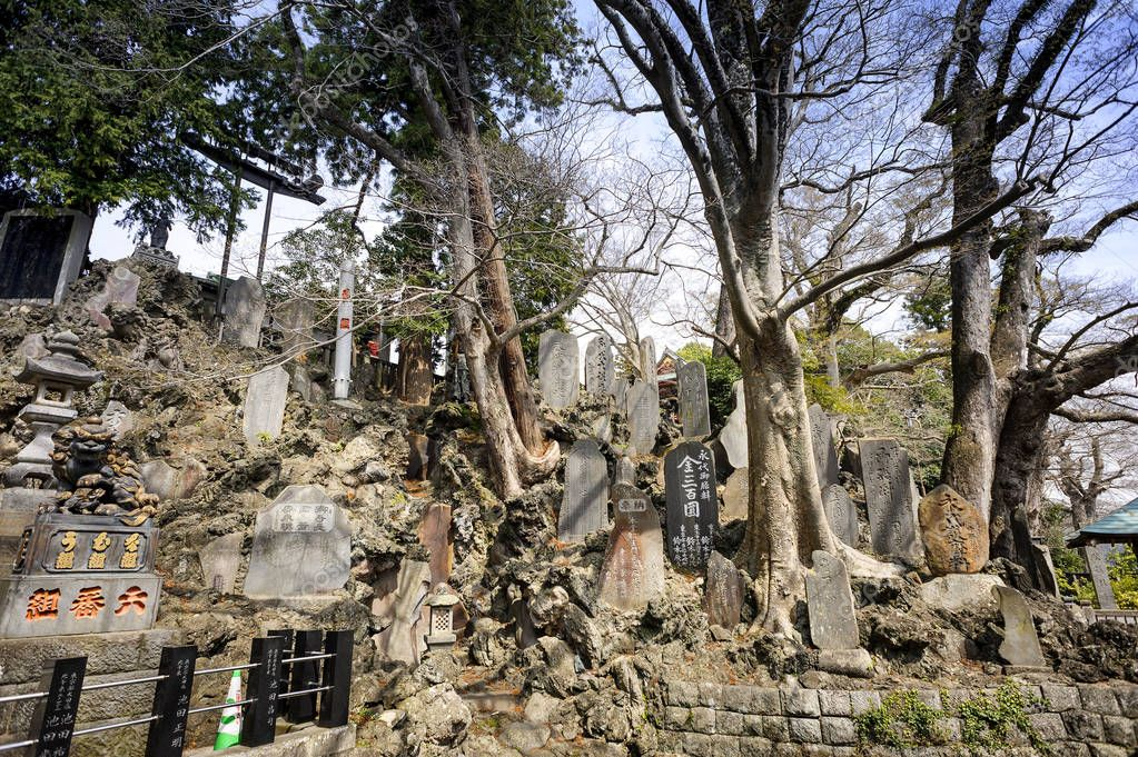 CHIBA JAPAN - MARCH 26, 2018 : Narita san Shinshoji temple, before the temple, there are stone carvings in Japanese and sculptures.