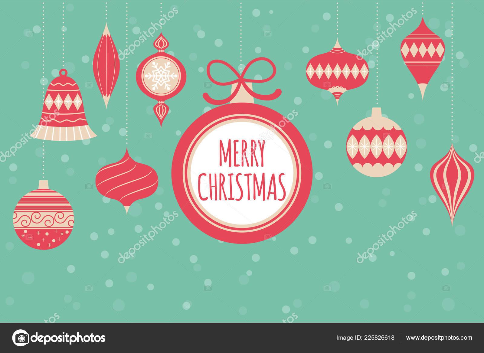 Merry Christmas Greeting Card Christmas Balls Happy Holiday