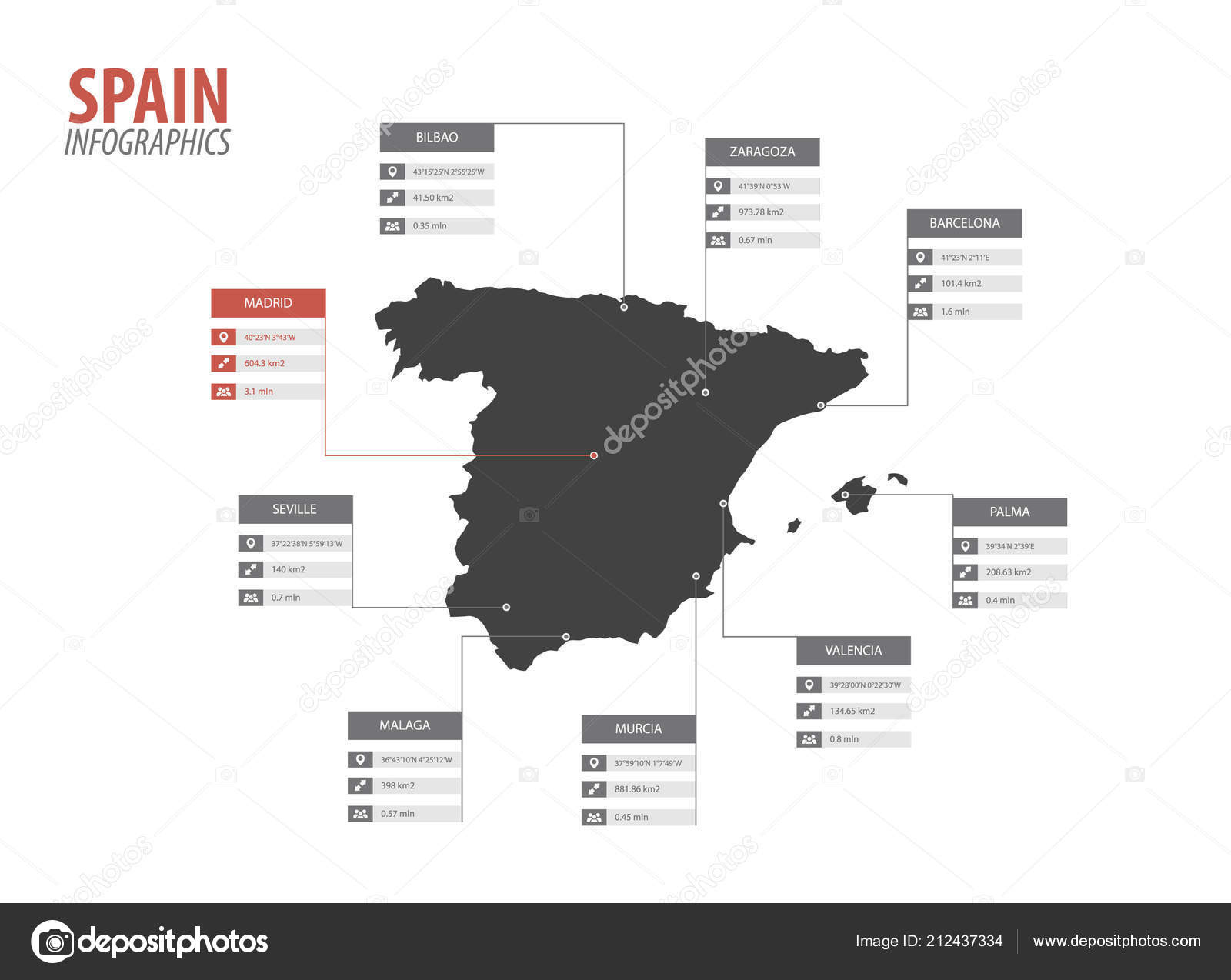 Big Map Of Spain.Spain Map Shape Vector Infographics Template Modern Spanish Big City