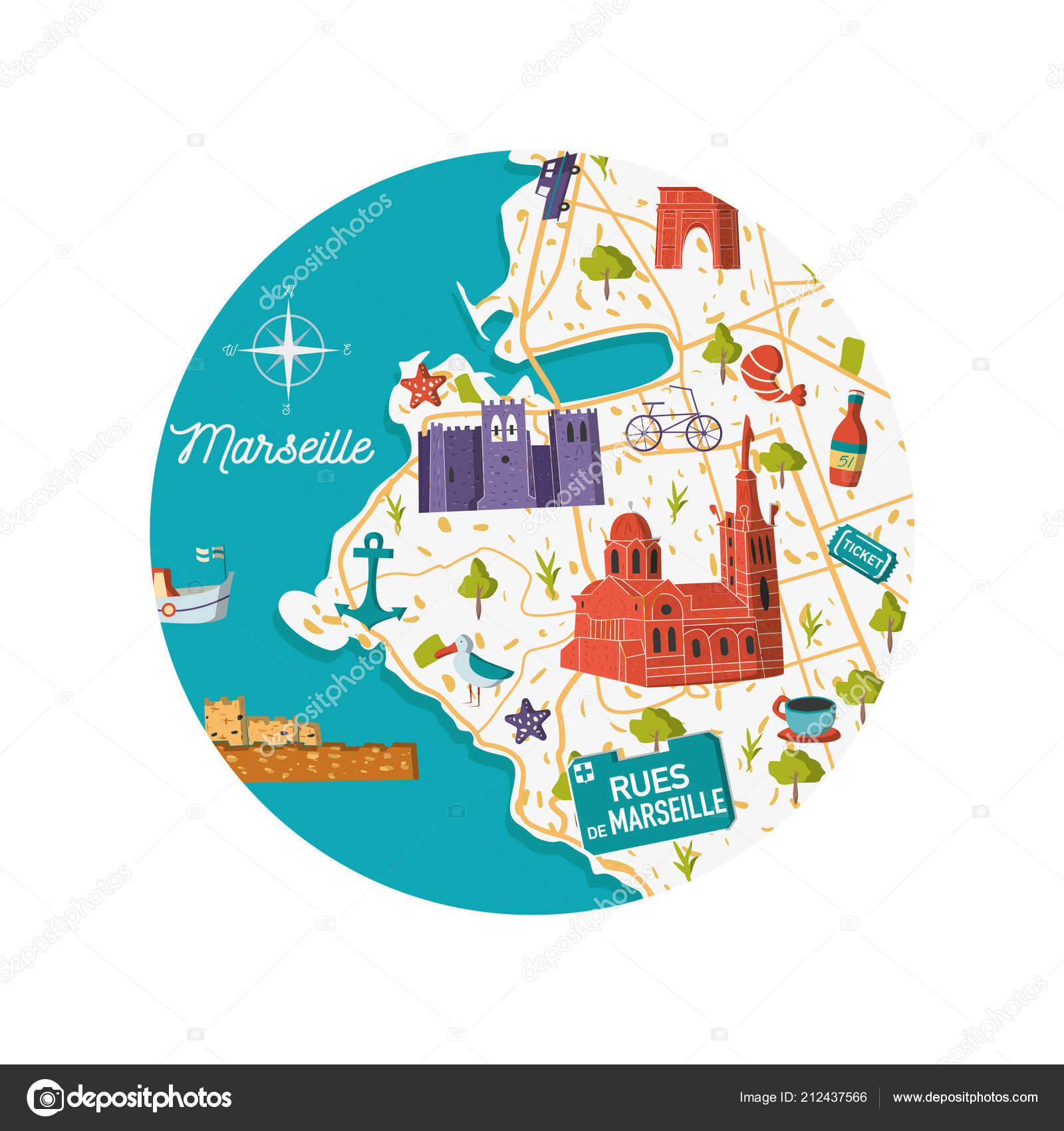France Marseille Vector City Map Illustration Cartoon Sightseeing
