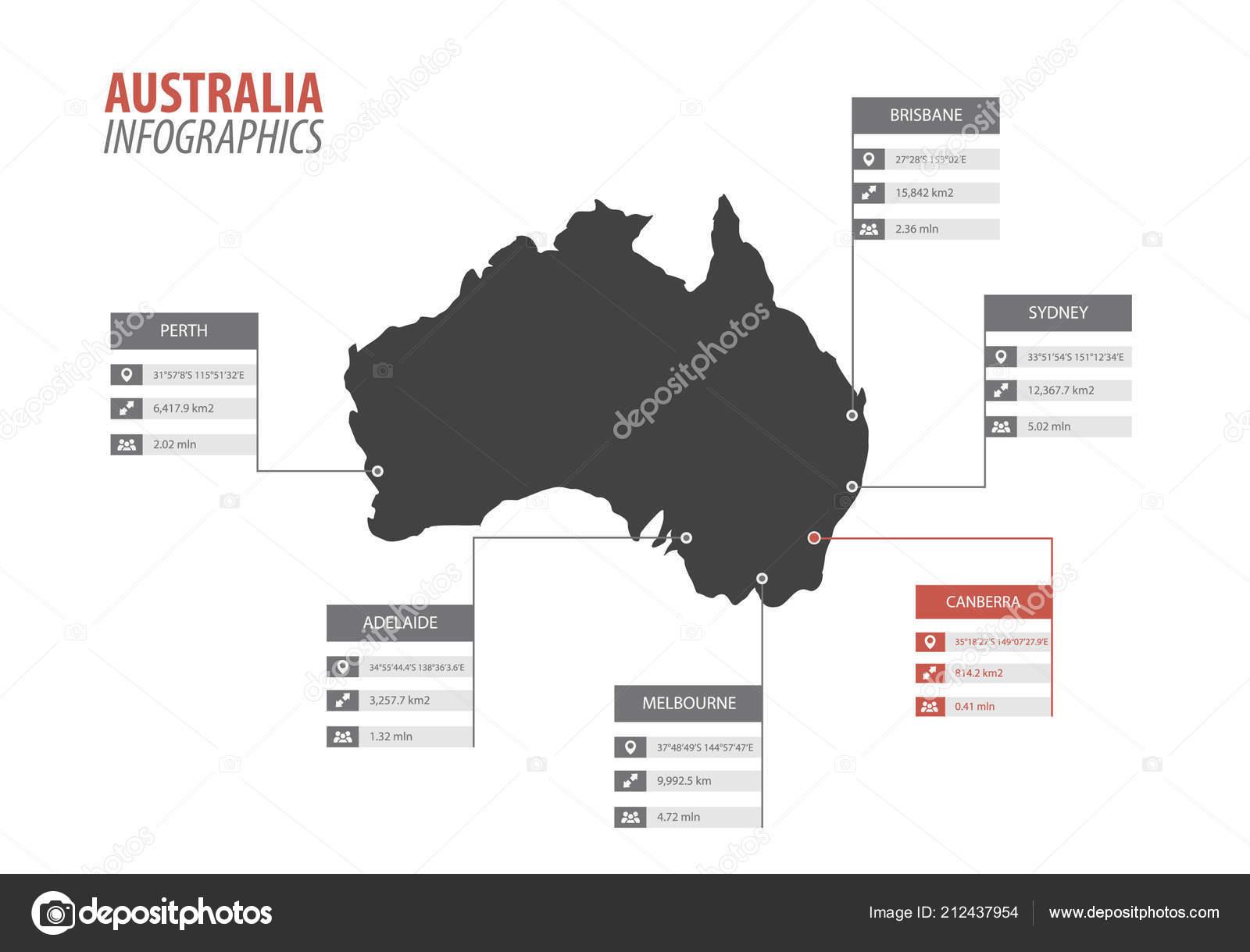Australia Map Template.Australia Map Shape Vector Infographics Template Modern City Region