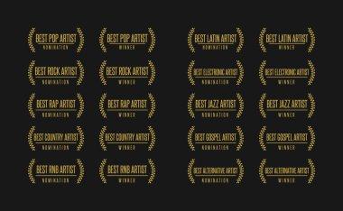 Music award nomination winner vector illustration