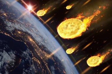 Bitcoin ya da cryptocurrency jeton fiyatına düşen Dünya atmosferi girmek gibi. (Nasa tarafından döşenmiş bu görüntü unsurları)