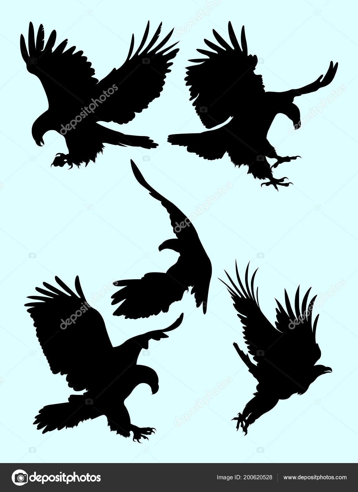 Silhouette Eagle Good Use Symbol Logo Web Icon Mascot Sign Stock