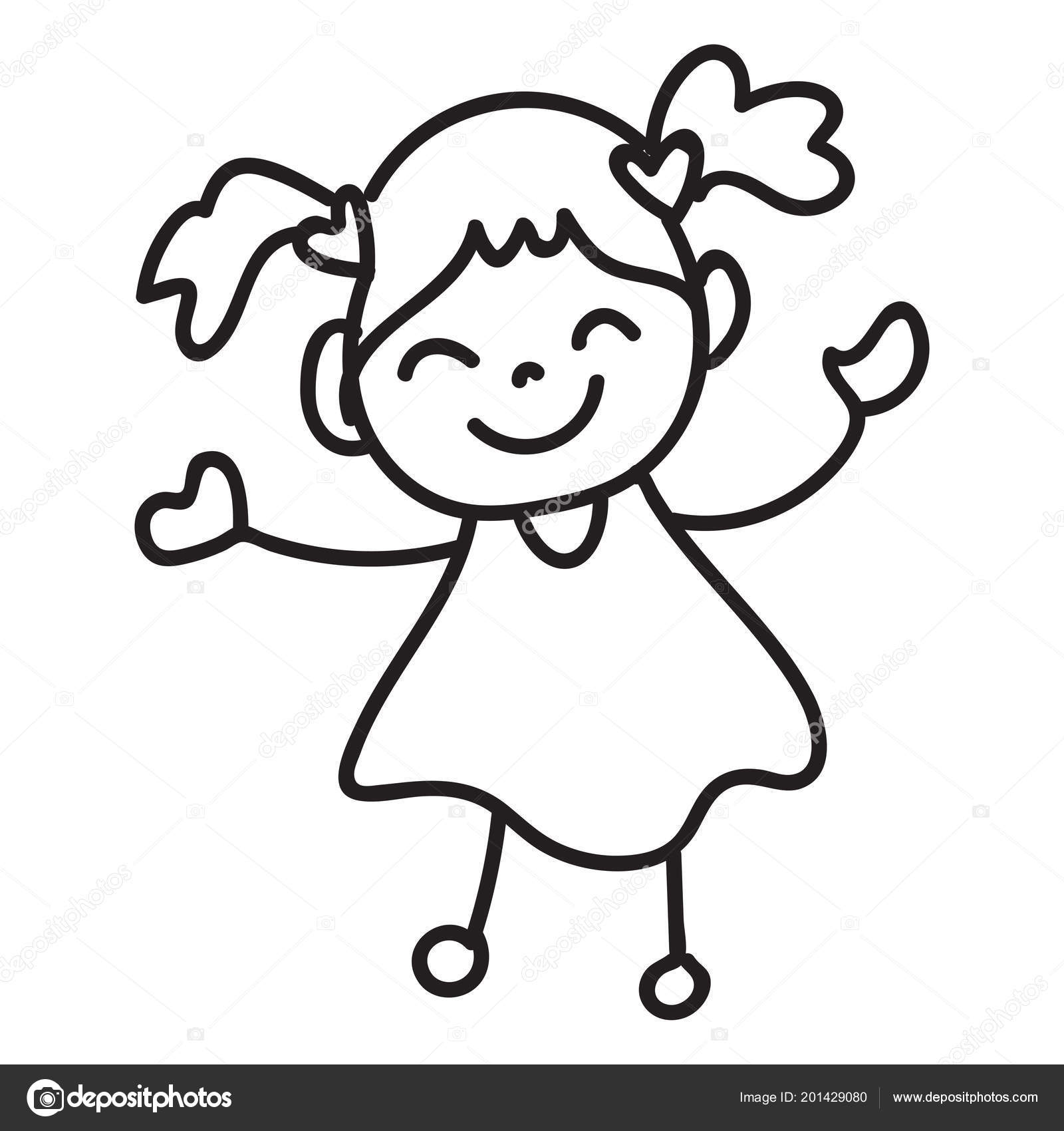 Hand drawing cartoon character happy kid abstract people happiness concept boy and girl smile and joyful vector by