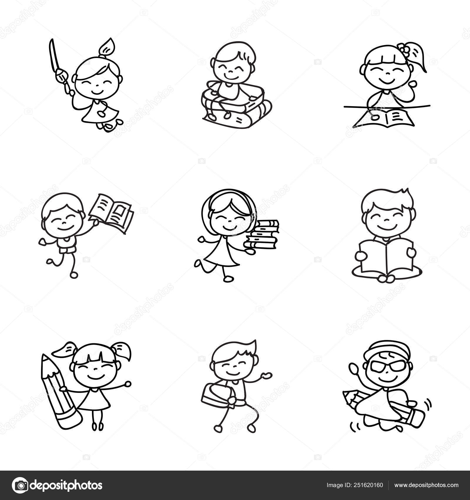 Hand Drawing Cartoon Happy Kids Back To School Vector Illustrati