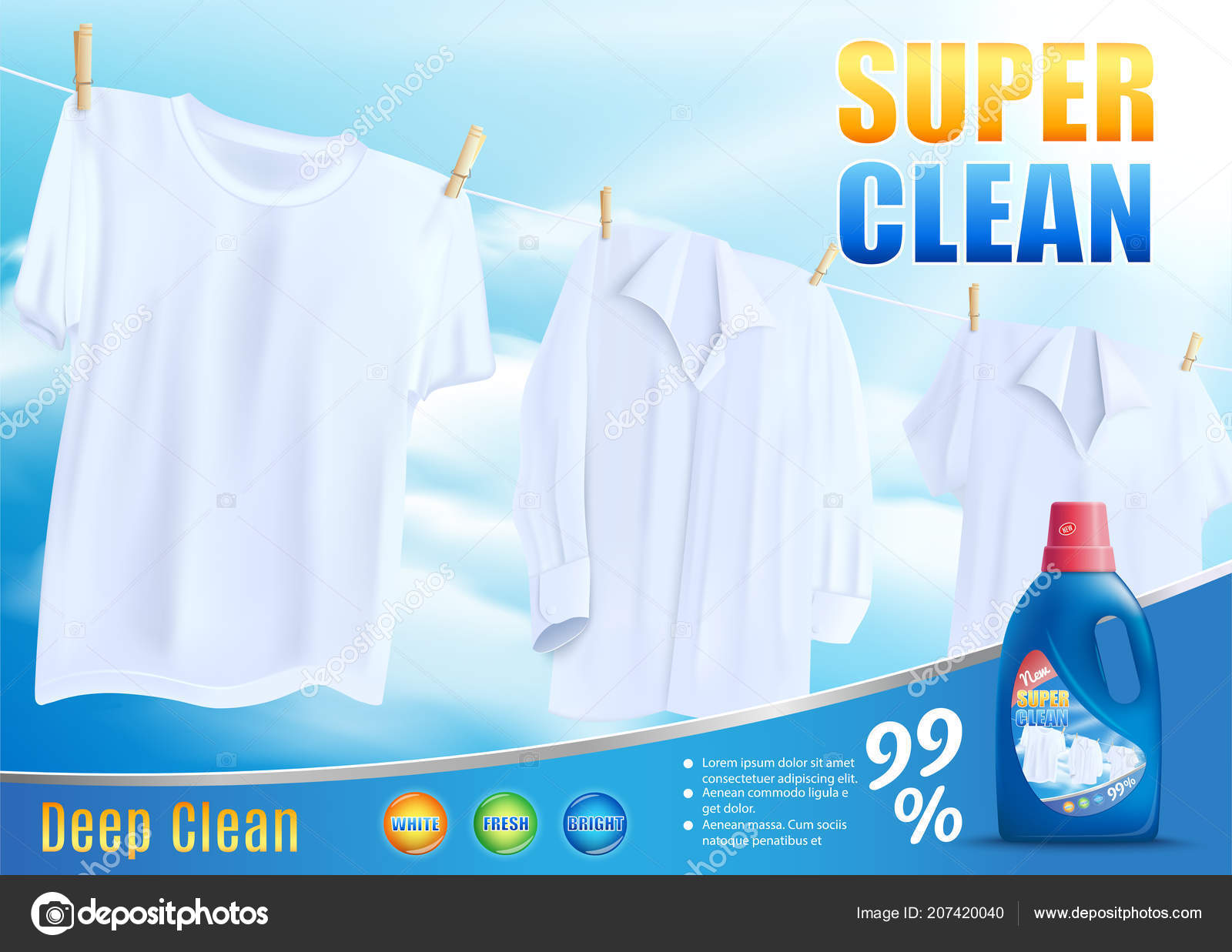 Super Clean Washing with New Detergent Vector — Stock Vector