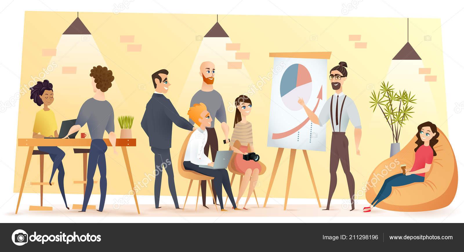 Imagenes De Personas Trabajando En Equipo: Vector De Dibujos Animados De Gente Trabajando En Oficina