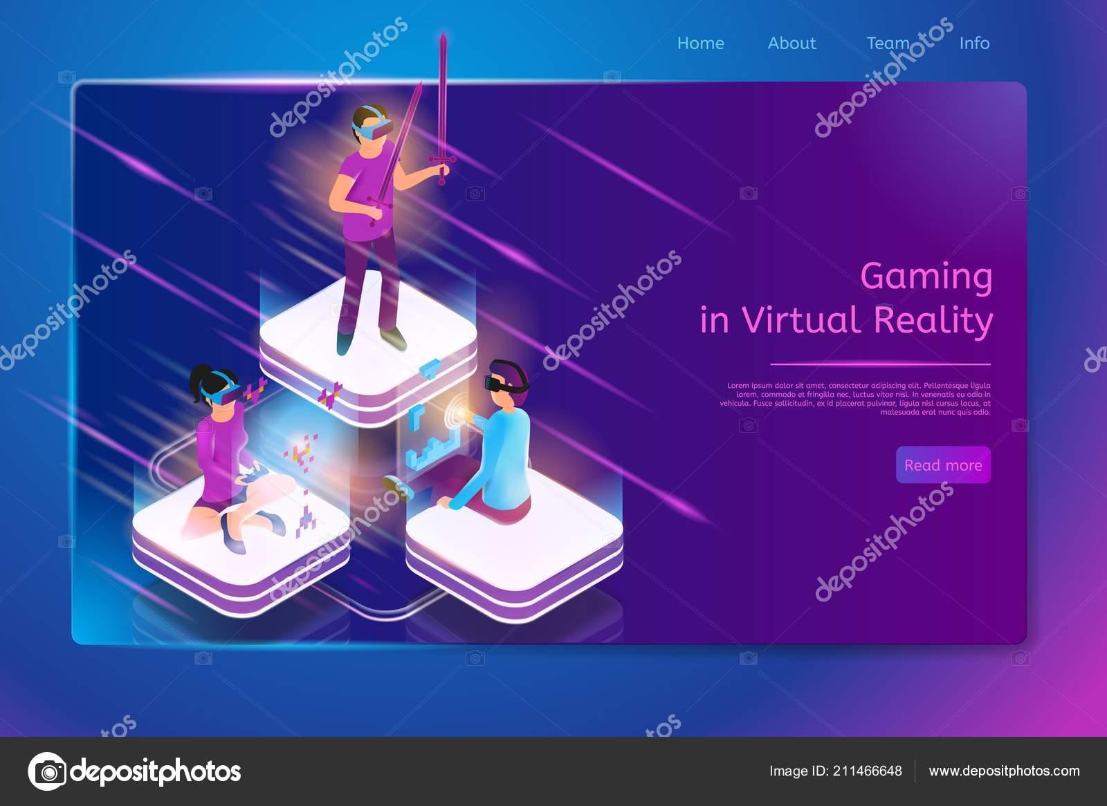 Juegos En Realidad Virtual Vector Web Banner Vector De Stock