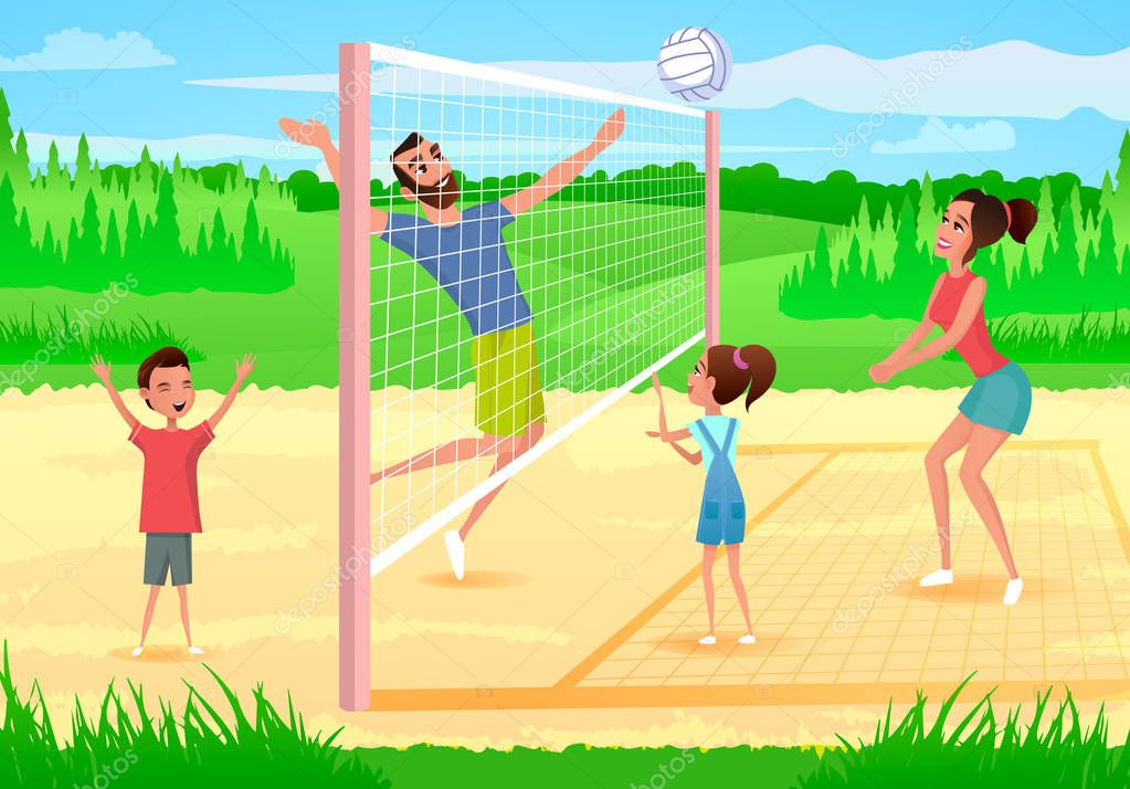 Family Playing Volleyball Cartoon Vector Illustration With Happy Parents Having Fun When Playing With Kids On Sports Playground Sport Games With Family In City Park Physical Activity Outdoors Premium Vector In