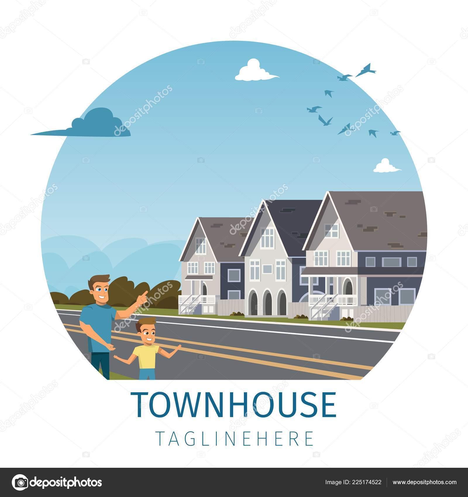 Vector image maison de ville située à lextérieur de la ville illustration vectorielle de bannière de stand famille de dessin animé en face de leur
