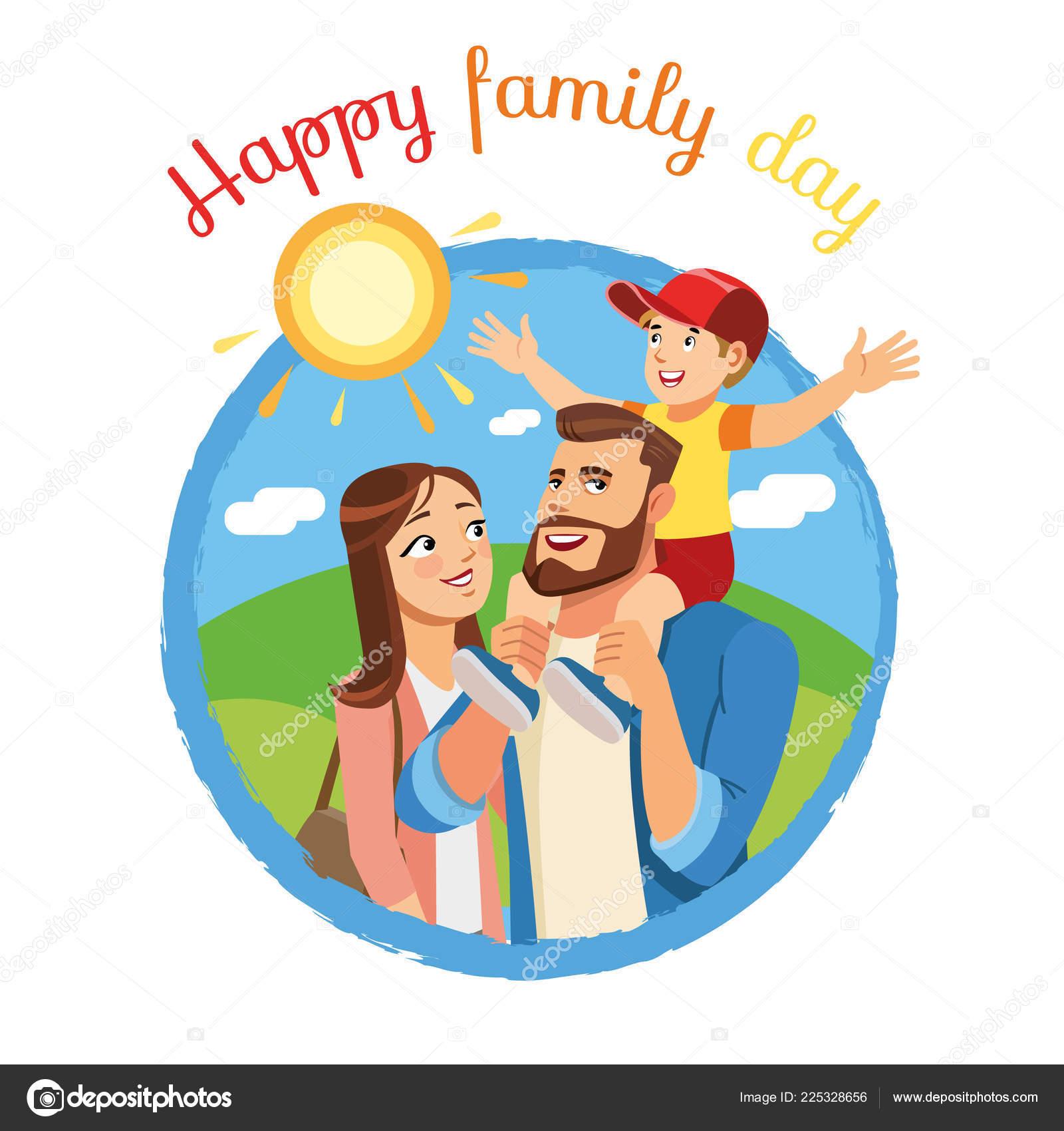 Feliz Día De La Familia De Dibujos Animados Vector Icono O Concepto