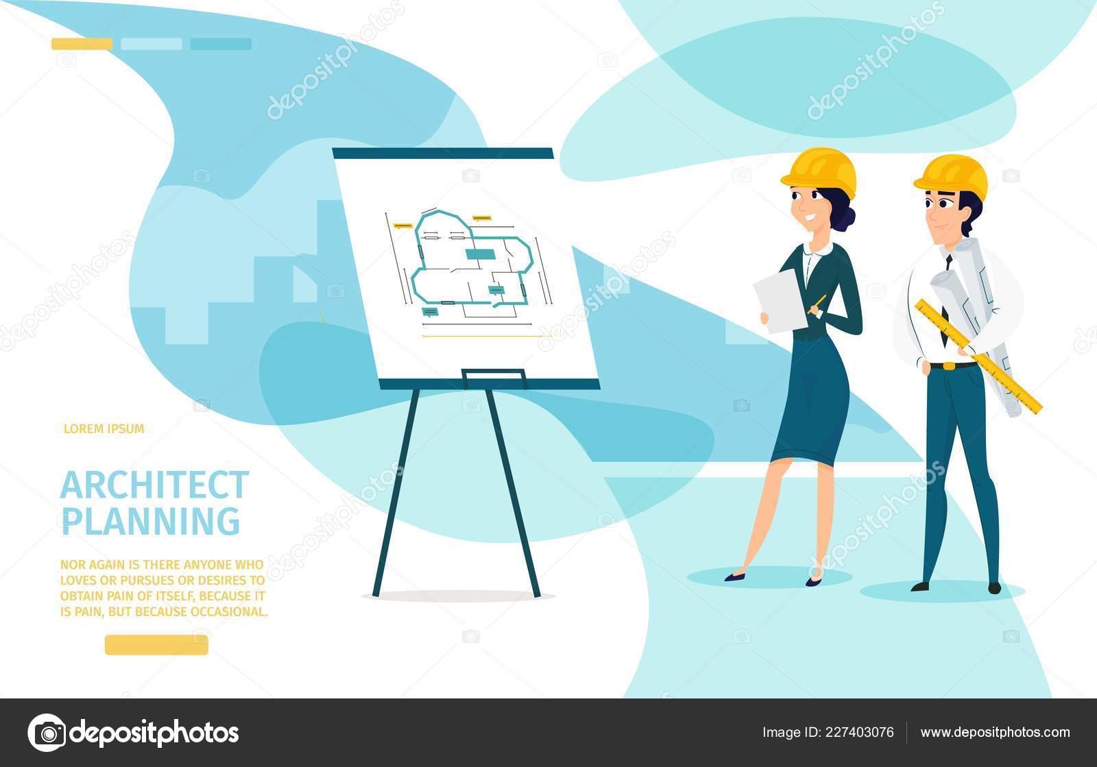 Architect planning cartoon vector landing page u2014 stock vector