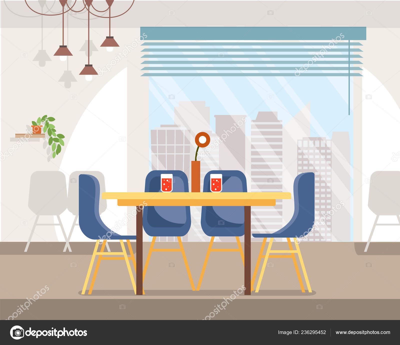 06c69e5e1702 Cafe espacioso Interior plano Vector con sillas, florero y roja bebida  carbonatada en copas sobre la mesa, colgantes, gran ventana con paisaje de  la ciudad ...