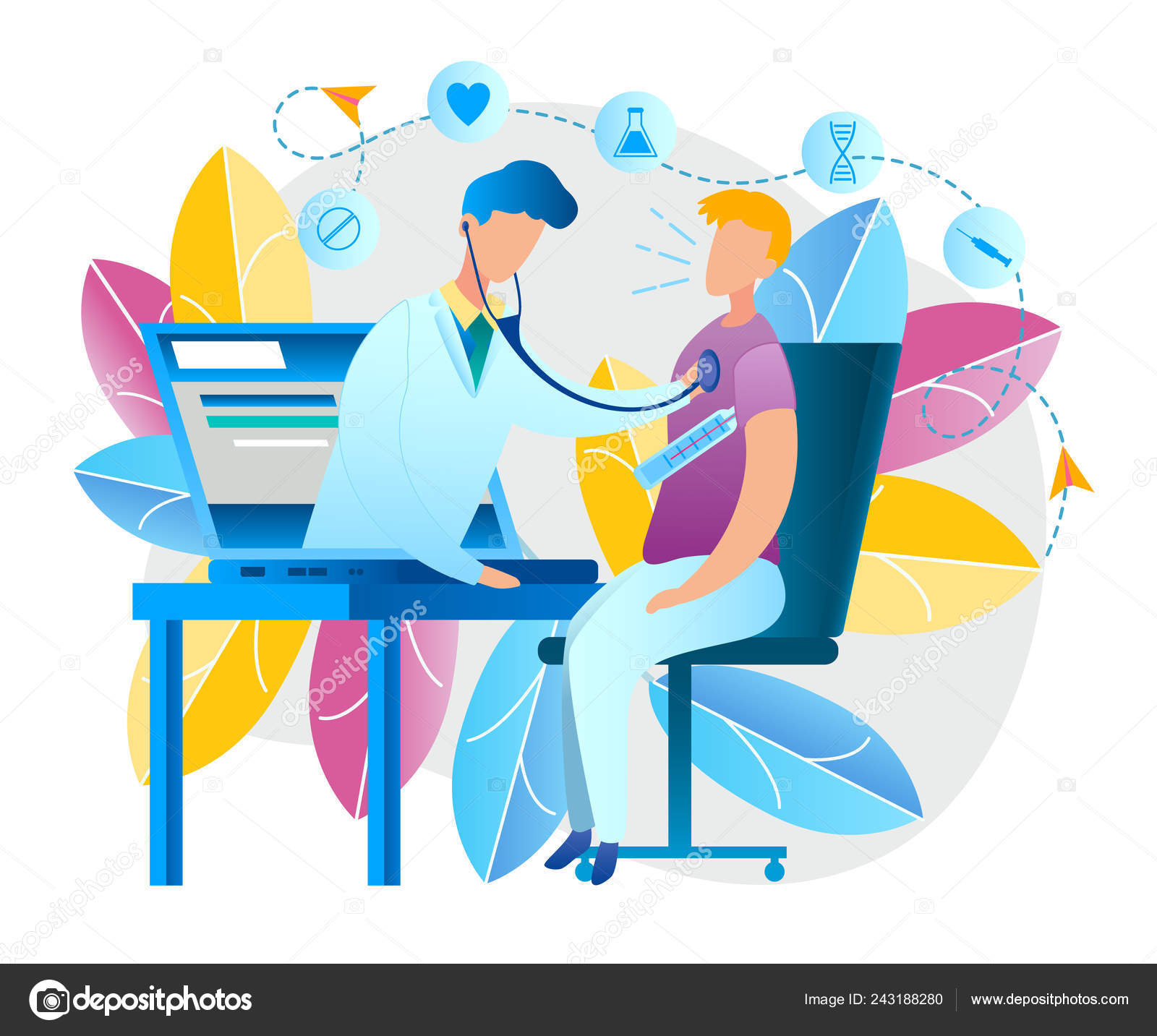 Illustration Online Doctor Consultation Home Vector Image