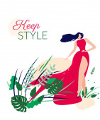schöne Frau im eleganten langen roten Kleid Karte.