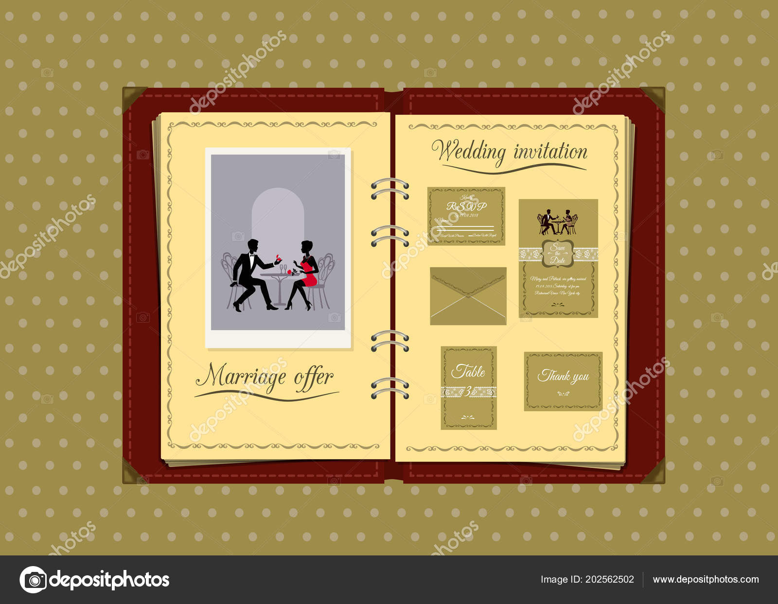 Vector illustration album wedding invitation vetores de stock vector illustration album wedding invitation vetores de stock stopboris Images